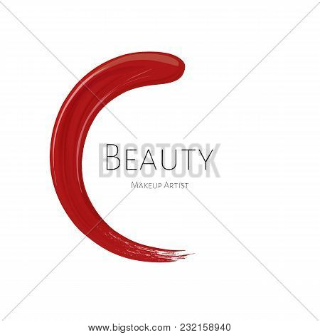 Beauty Makeup Artist Logo Template With Red Textured Lipstick Stroke Circle And Inscription Beauty O