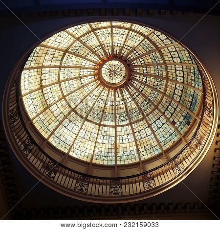 Essex: 10 March 2018: The Highly Decorative Glass Dome Ceiling, Which Is In The Grade 2 Listed Build