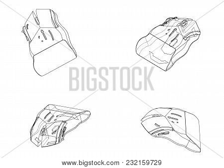 3d Model Of A Mouse On A White Background. Drawing