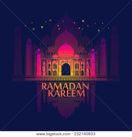 Ramadan Islamic Holiday Card. Greeting Background With Mosques. Ramadan Kareem - May Generosity Bles