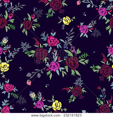 Floral Seamless Pattern With Flowers. Vector Motifs With Rose For Fabric Print And Embroidery.