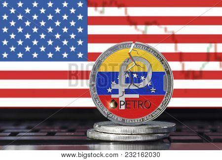 Petro (ptr) Coin With Cracks On The United States Flag Background; Ban On Petro (national Venezuela