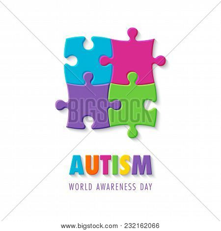 Colorful Puzzle Sign. Symbol Of Autism. Vector Illustration