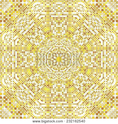 Gold Pattern Texture With Golden Mosaics In The Byzantine Style Antique Mosaic. Mosaic Tiles In Anti