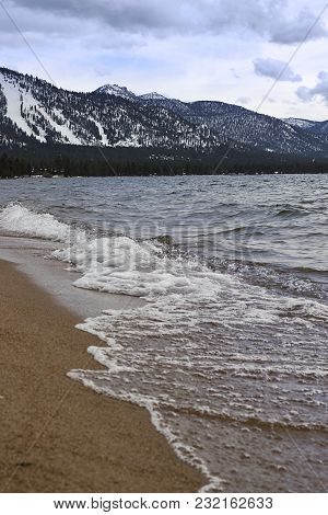 Waves On The Shore Of South Lake Tahoe In Nevada Beach Campgrounds In Nevada, U.s.a.