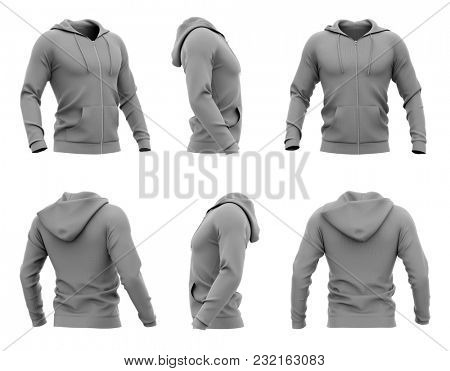 Men's zip-up hoodie. Sweatshirt with pockets. Set of six views. 3d rendering. Clipping paths included: whole object, hood, sleeve, zipper, rope tie. Isolated on white background.