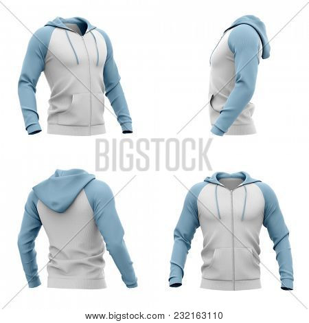 Men's hooded zip-up hoodie. Sweatshirt with pockets. Set of four views. 3d rendering. Clipping paths included: whole object, hood, sleeve, zipper, rope tie. Isolated on white background.
