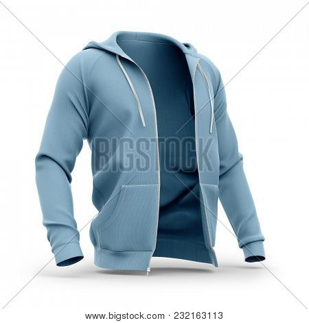 Men's hoodie with open zipper. Half-front view. 3d rendering. Clipping paths included: whole object, hood, sleeve, zipper.