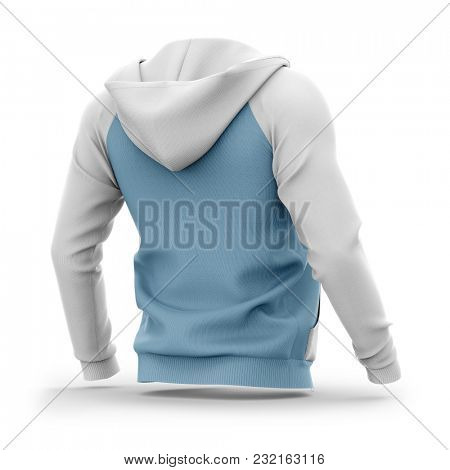 Men's hoodie with open zipper. Hlaf-back view. 3d rendering. Clipping paths included: whole object, hood, sleeve.