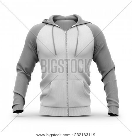 Men's zip-up hoodie. Sweatshirt with pockets. Front view. 3d rendering. Clipping paths included: whole object, hood, sleeve, zipper, rope tie. Isolated on white background.
