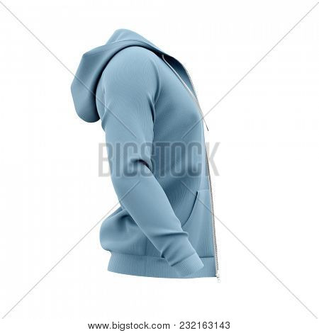 Men's hoodie with open zipper. Side view. 3d rendering. Clipping paths included: whole object, hood, sleeve, zipper.