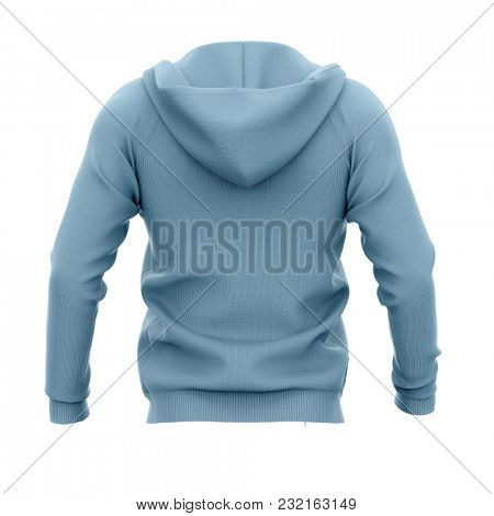 Men's hoodie with open zipper. Back view. 3d rendering. Clipping paths included: whole object, hood, sleeve. Isolated on white background.