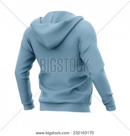 Men's hoodie with open zipper. Half-back view. 3d rendering. Clipping paths included: whole object, hood, sleeve. Isolated on white background.