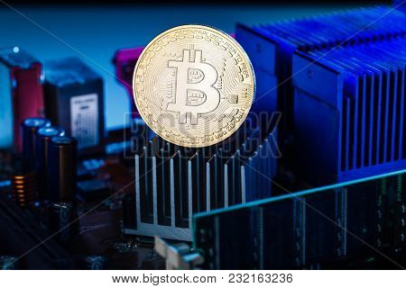 Picture of bitcoin and processor