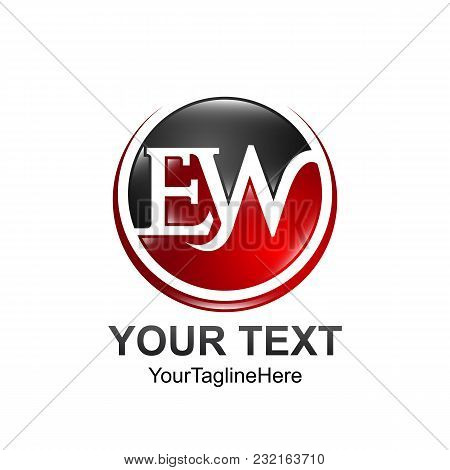 Initial Letter Ew Logo Template Colored Red Black Circle Swoosh Design For Business And Company Iden