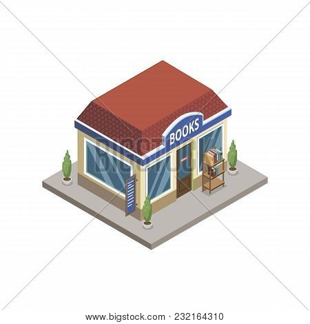 Isometric View Of Town Books Store Building On White Background.