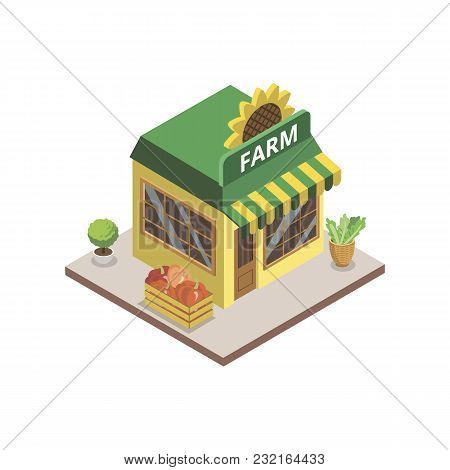 Isometric View Of Farm Shop With Groceries Building On White Background.