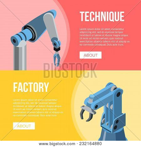 Robotic Hands Of Conveyor With Factory And Technique Words On Multicolored Background.