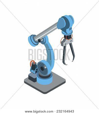Isometric Design Of Blue Robotic Arm For Engineering Machines.