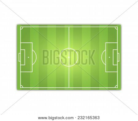 From Above Flat Design Of Bright Green Football Stadium With Green Grass.