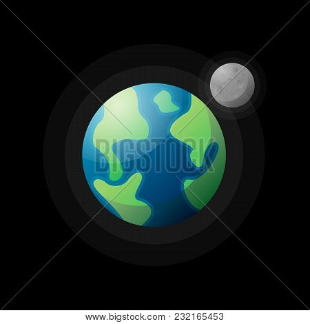 Flat Design Of Earth Planet With Moon Satellite Running On Orbit.
