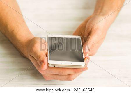 Man Using White Smartphone Screen Smart Phone Hands Close Up A Touch Screen Smart Phone Hands Close