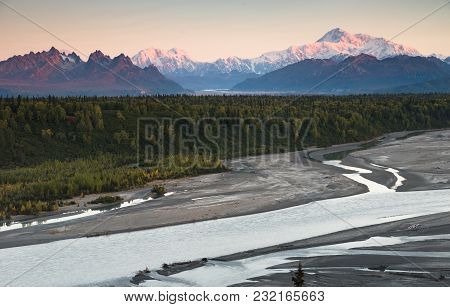 The Last Suunlight Hits The Tip Top Of The Denali Range And Mt Mckinley Chulitna River