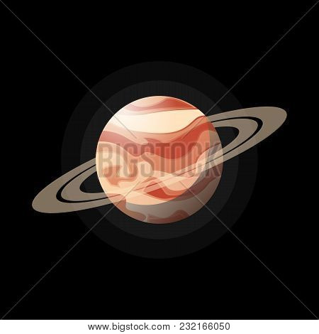 Round Red Planet In Flat Style With Few Rings Around On Black Backdrop.