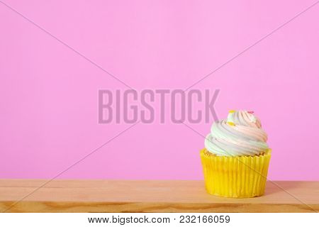 Pastel Cupcake On Pink Background With Copy Space For Text, Birthday, Anniversary Greeting Card Back
