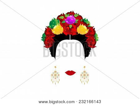Portrait Of Modern Mexican Or Spanish Woman , With Flower Crowns And Precious Golden Earrings. Vecto