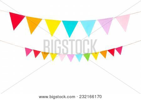 Colorful Party Flags Isolated On White Background, Birthday, Anniversary, Celebrate Event, Festival
