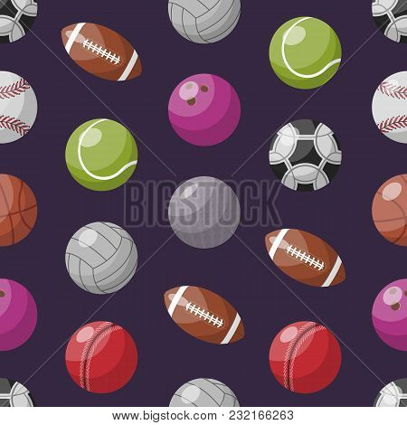 Seamless Background With Pattern Of Colorful Assorted Balls For Different Games.