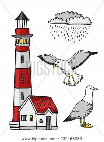 Red And White Lighthouse, Rain Cloud And Seagull Vector Colored Lineart