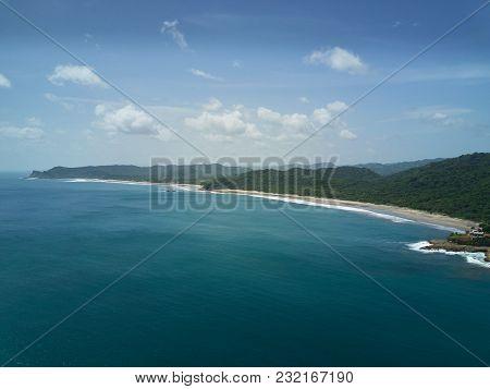 Calm Ocean Coastline Background Aerial Drone View