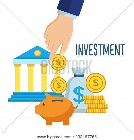 Investment Money Saving Concept. Hand Putting Coins In Piggy Bank. Financial Profit And Finance Symb