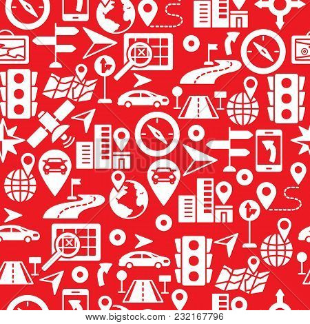 Seamless Pattern With Route Related Vector Silhouette Icons. Flat Web Icons Set - Location,  Navigat