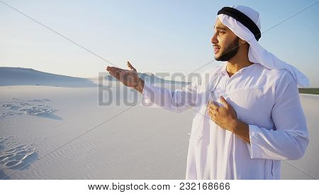 Talkative Handsome Muslim Arabian Sheikh Man Looks With Smile At Camera And Gestures, Tells About Si