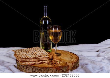 Pesach Passover Matzot, Red Wine And Silver Dish