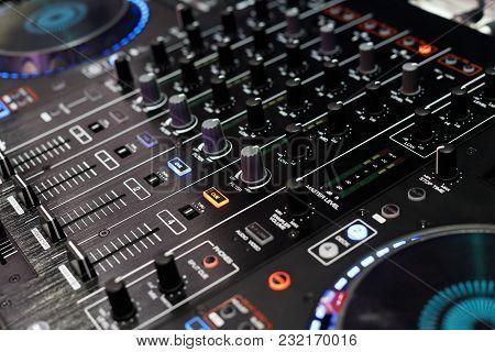 Closeup Of The Top Panel Of Standalone Dj Player And Dj Mixer Controller. Selective Focus.