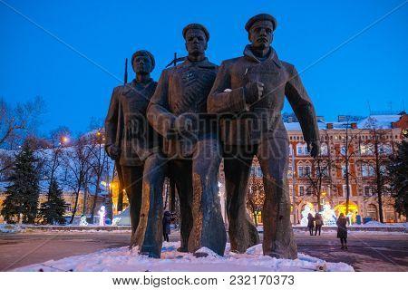 Nizhny Novgorod, Russia - March, 10, 2018: monument of sailors on Volga embankment in Nizhny Novgorod in winter