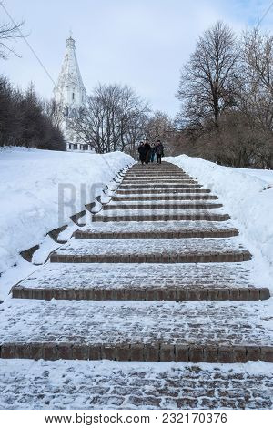 Moscow, Russia - March, 11, 2018: Vosnesenskaya (Ascension) Church in Kolomenscoye, Moscow, Russia
