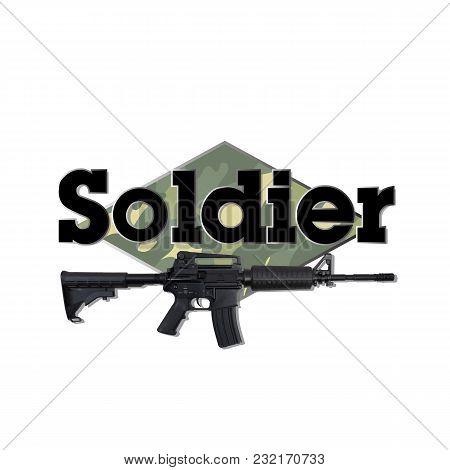 Soldier Black Text Gun Background Vector Image