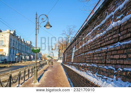 Nizhny Novgorod, Russia - March, 10, 2018: street in a center of Nizhny Novgorod in winter