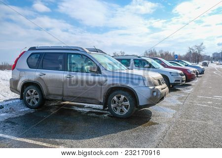 Moscow, Russia - March, 11, 2018: car on the parking in Moscow
