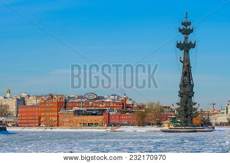 Moscow, Russia - March, 10, 2018: winter embankment of Moscow river in Moscow, Russia