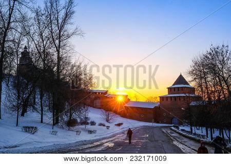 Nizhny Novgorod, Russia - March, 10, 2018: landscape with the image of Kremlin in Nizhny Novgorod in winter