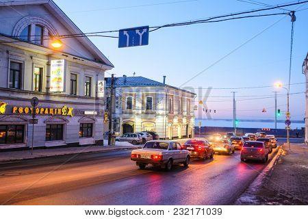 Nizhny Novgorod, Russia - March, 10, 2018: ltraffic jam on Volga embankment in Nizhny Novgorod in winter