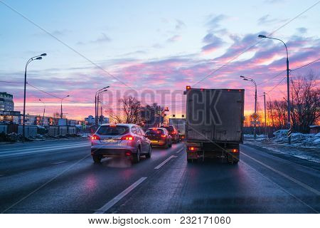 Moscow region, Russia - March, 10, 2018: subway at a sunrise in Moscow region, Russia.  Veiw from a car cab