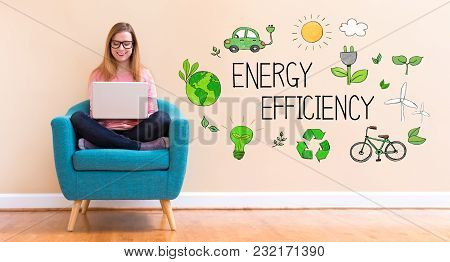 Energy Efficiency With Young Woman Using Her Laptop In A Chair