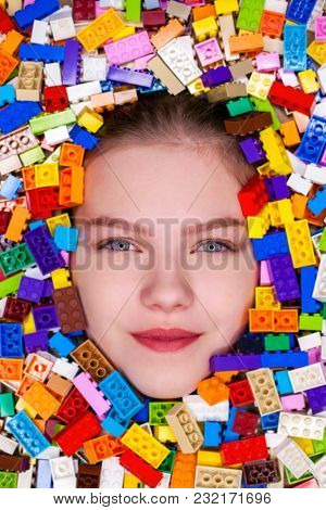 Close up face Girl in color constructor